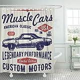Emvency cortina de ducha de 72 x 72 pulgadas, diseño retro de varilla, gráficos tipográficos, vintage, para etiquetas, se puede lavar a máquina