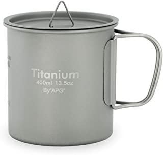 Ultralight Titanium Picnic Camping Cup Water Mug Foldable Handle Pot Coffee Tea Cup with Lid
