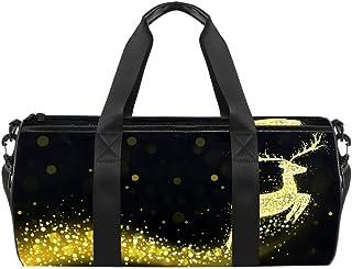DJROWW Weihnachtliche Rentier-Silhouette mit goldenen blinkenden Lichtern Duffel Schultertragetasche Segeltuch Reisetasche für Gym Sport Tanz Reisen Weekender