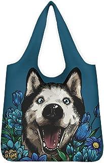 Agroupdream - Bolsas de la compra reutilizables para mujer, plegables, reutilizables, bolsa de compras Husky