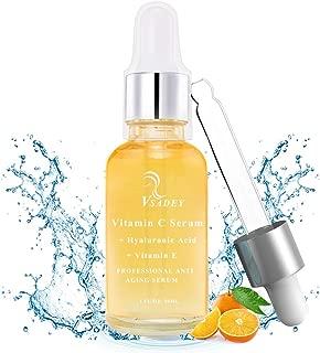 Vsadey Suero facial de vitamina C con ácido hialurónico puro + vitamina E, suero bio Antiarrugas, suero antiarrugas hidratante para el cuerpo Cuerpo natural de vitamina C 30 ML