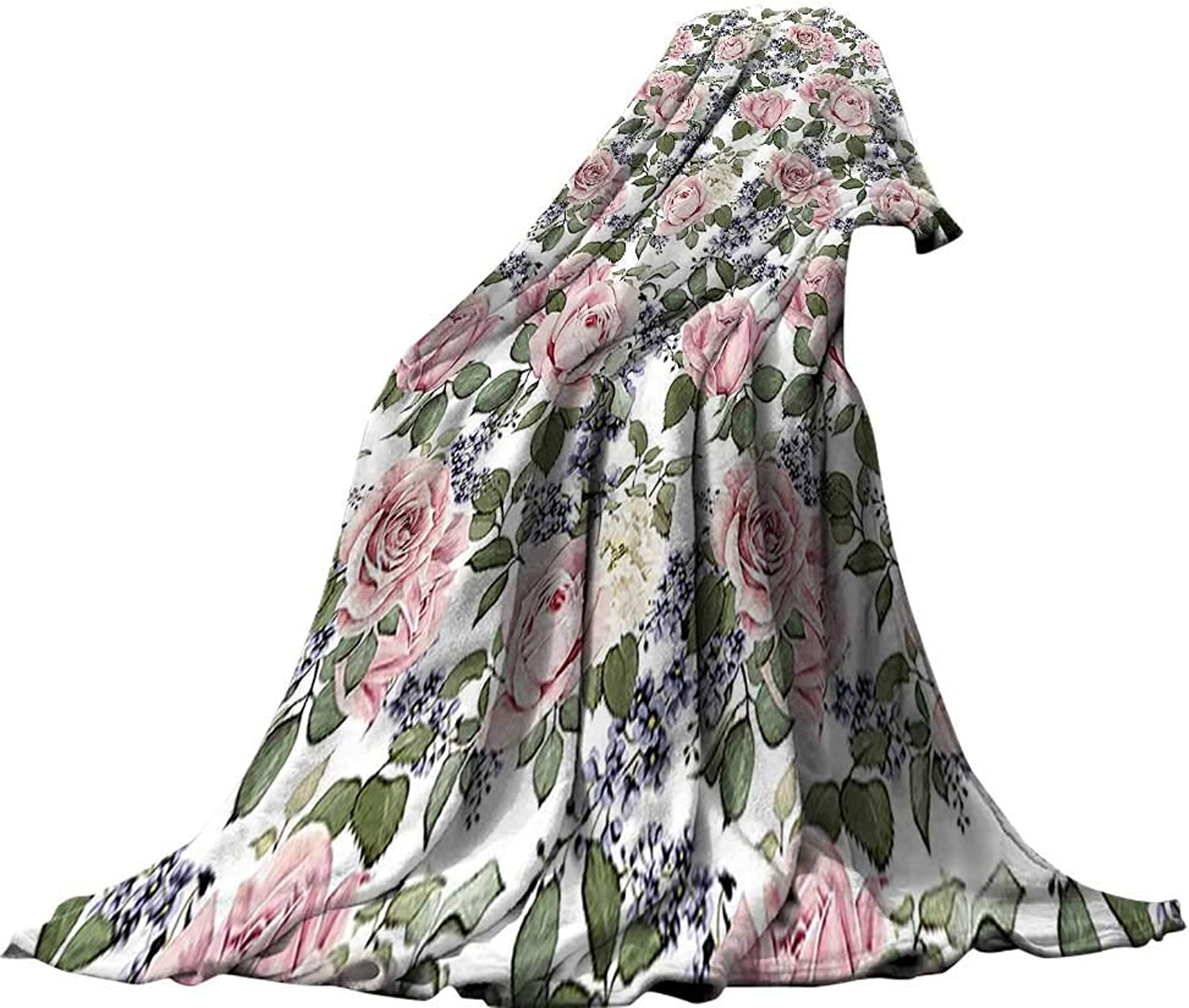 QINYANHome Weave Pattern Extra Long Blanket (90 x70 ) Summer Quilt Comforter pinks Decorations Floral Pattern with pinks Leaf Peony Plant Flower Arrangement Art Pink Green Purple.