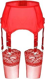 Slocyclub 6 Adjustable Straps Mesh Garter Belts and Stocking Sets for Women