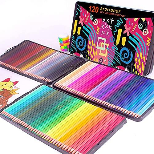 Brutfuner 120 lápices de colores cuadrados, perfectos para libros de colorear adultos, estudiantes o niños suministros de arte escolar (120 colores)
