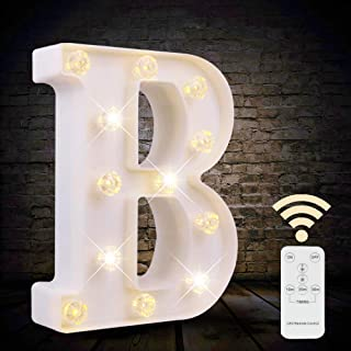 LED Letter Lights White Marquee Letters Alphabet Light Up Sign with Diamond Bulbs Remote Control Timer Dimmable Wedding Bi...