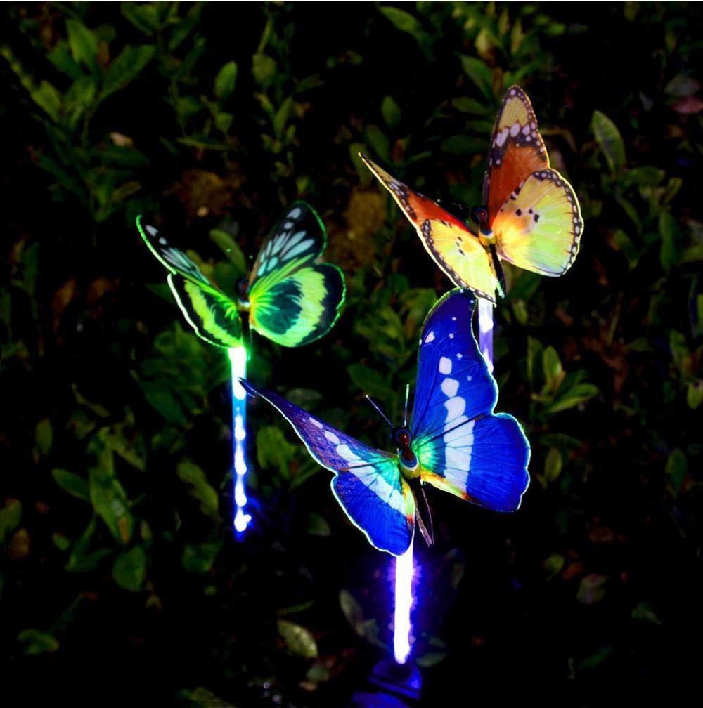 BYBYC Luz Solar de jardín al Aire Libre - Luz Solar de 7 Mariposas de Fibra de Lazo, Luz Solar de Color, Jardín LED púrpura, Patio, Patio Trasero, Seis: Amazon.es: Hogar