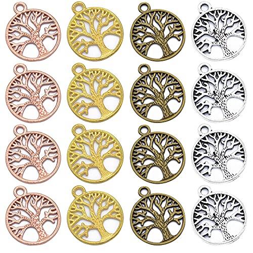 Zasvec Connecteur Arbre de Vie 100 Pièces Pendentif Arbre de Vie Breloque Arbre de Vie Connecteur Pendentifs Connecteurs en Métal pour DIY Artisanat (4 couleurs)