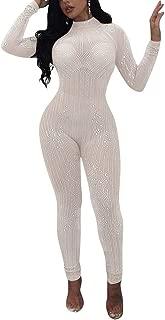 Womens Sexy Mesh See Through Rhinestone Bodycon Club Jumpsuit Romper