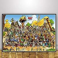 ファッションキャンバス絵画 ポスターとプリントアステリックスフランスのクラシックコミック漫画作品ストリップコラージュFunnyPosterウォールピクチャーのホームインテリア絵画 (Color : 0005, Size (Inch) : 50x70 CM Unframed)