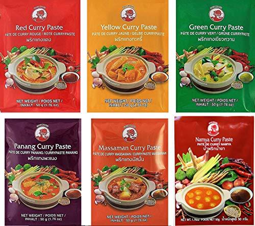 Cock Brand - 6 pastas de curry diferentes cada una de 50g (rojo, amarillo, verde, panang, matsaman, namya), 6x50g