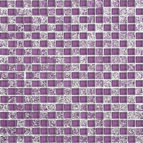 1qm vetro mosaico piastrelle opaca in lilla con fratturata chiara e vetro ottica MT0070 m2
