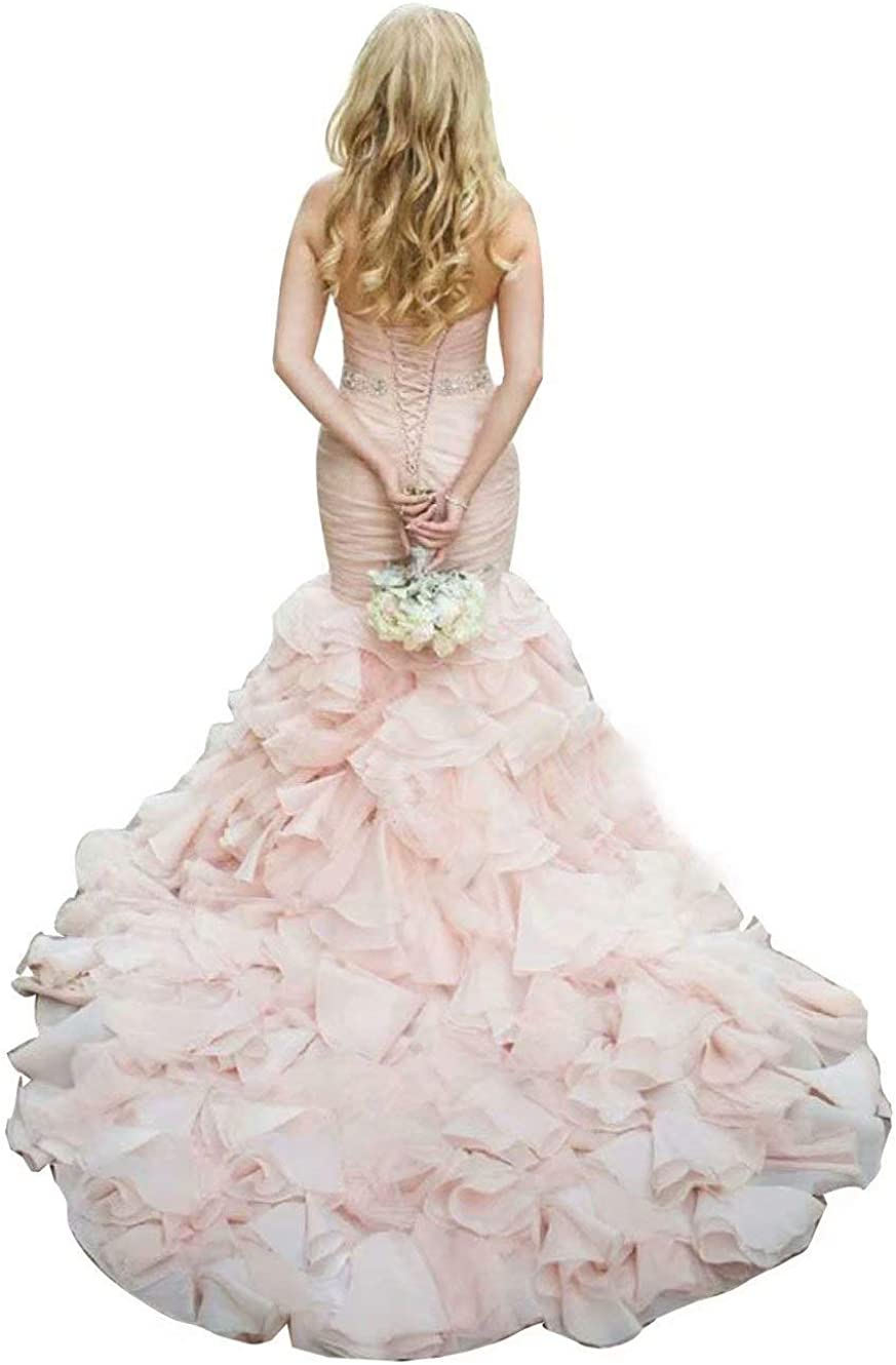 QueenBridal Mermaid Oragnza Sweetheart Ball Gown Wedding Dresses for Bride QBL102