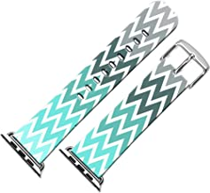 Band Compatible with Iwatch 44mm/42mm & Cisland Leather Strap Compatible with Apple Watch Series 1/2/3/4/5 Sport & Edition Colorful Wonderful Striped Creative Beautiful Print
