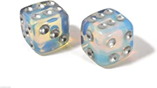 Queenlink Natural Hand Carved Gemstone Various Crystal Healing Lucky Dice 15mm (Opalite)