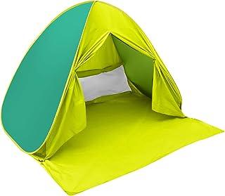 ワンタッチ ポップアップ テント サンシェードテントRaindon ビーチテント日除けUV50+ カーテン付き 設営簡単200×165cm約5秒で組み立て 3人用-4人用 日本語収納説明書付き
