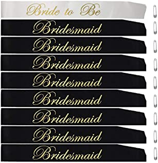 Bridal Shower Bachelorette Party Satin Sash Set:1 Bride to Be Sash, 8 Bridesmaid Sash, 9 Pcs Bride Tribe Wedding Decorations Kit for Hen Party, Engagement Party Favors & Supplies