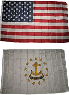 ALBATROS (Pack of 3) ft x 5 ft USA Flag with State of Rhode Island 3 ft x 5 ft 2 Flags Banner for Home and Parades, Official Party, All Weather Indoors Outdoors
