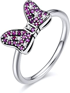Twenty Plus Disney Minnie's Sparkling Bow Ring with Pink & Clear CZ Gifts for Girls & Women