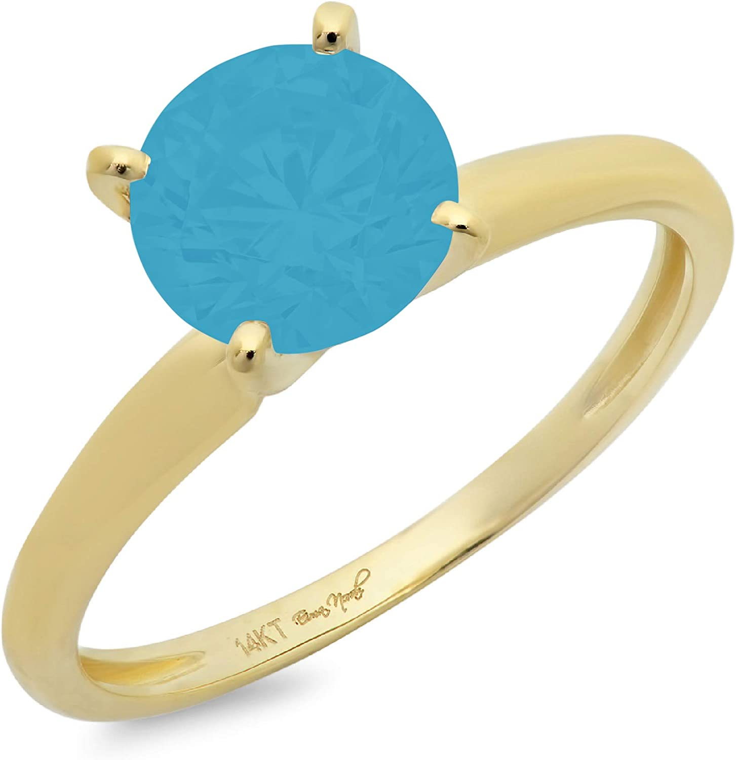 1.9ct Brilliant Round Cut Solitaire Flawless Simulated Cubic Zirconia Blue Turquoise Ideal 4-Prong Engagement Wedding Bridal Promise Anniversary Designer Ring in Solid 14k Yellow Gold for Women