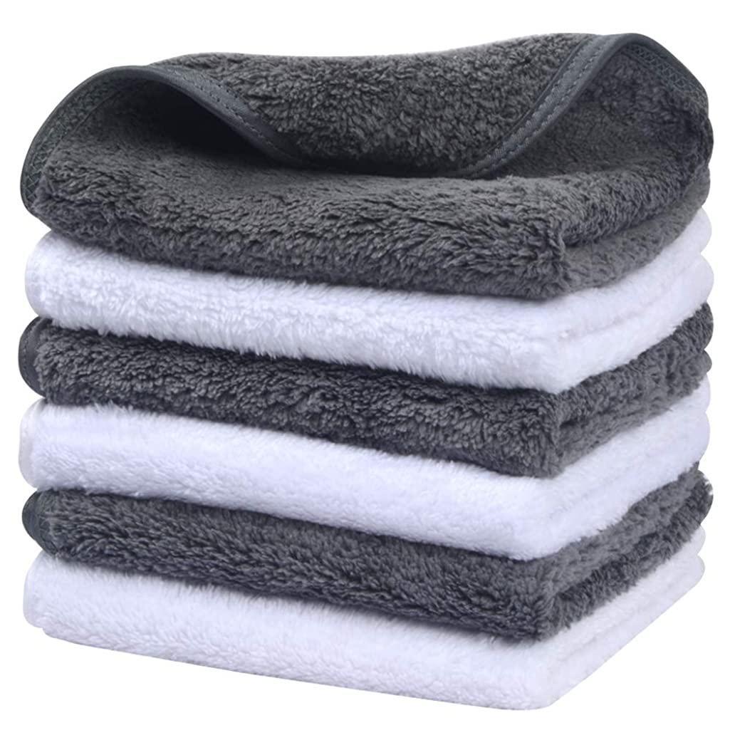 Sinland Microfiber Face Cloths For Bath Reusable Makeup Remover Cloth Ultra Soft and Absorbent Washcloths For Baby 12Inch x 12Inch White and Grey 6 Pack