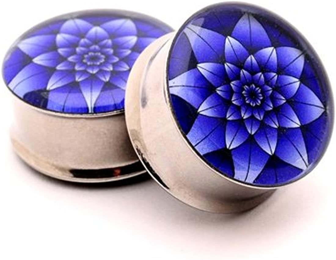 Mystic Metals Body Jewelry Double Flare Blue Lotus Picture Plugs - Sold As a Pair