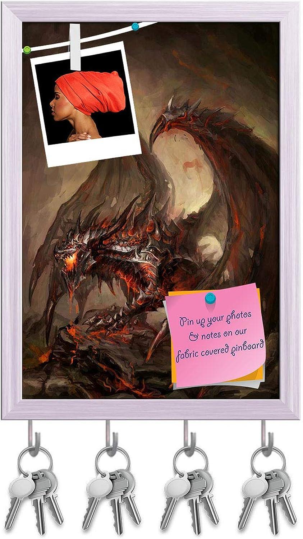 Artzfolio Armored Knight Dragon Key Holder Hooks   Notice Pin Board   White Frame 12 X 17.1Inch