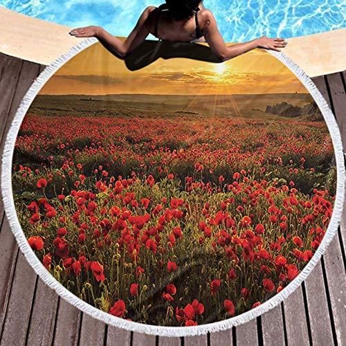 Microfibra Toalla de playa Campo de amapolas al atardecer Rayos de sol Prado Paisaje con nubes Escena de flores silvestres Playa 59inch