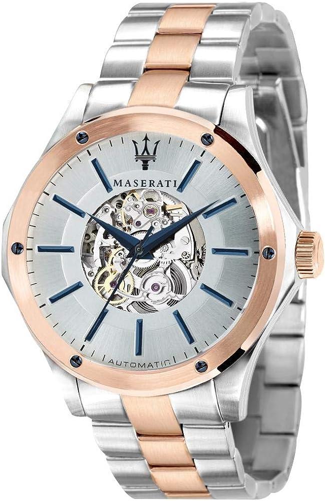 Maserati orologio da uomo, collezione circuito,  automatico in acciaio, pvd oro rosa 8033288766483