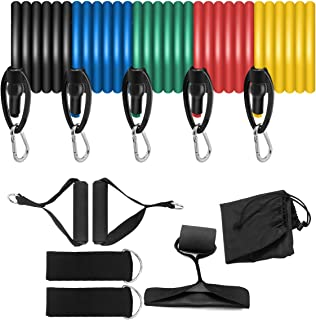 TREASURE Resistance Bands Set, Bands,Exercise Workout Bands - with Door Anchor, Handles and Ankle Straps - Stackable for R...