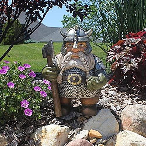 Estatua Decorativa de Jardín Exterior,Vikingo Estatuilla De Gnomo Al Aire Libre con Hacha,Resina GNOME Decoración para El Hogar Jardín Jardín Césped