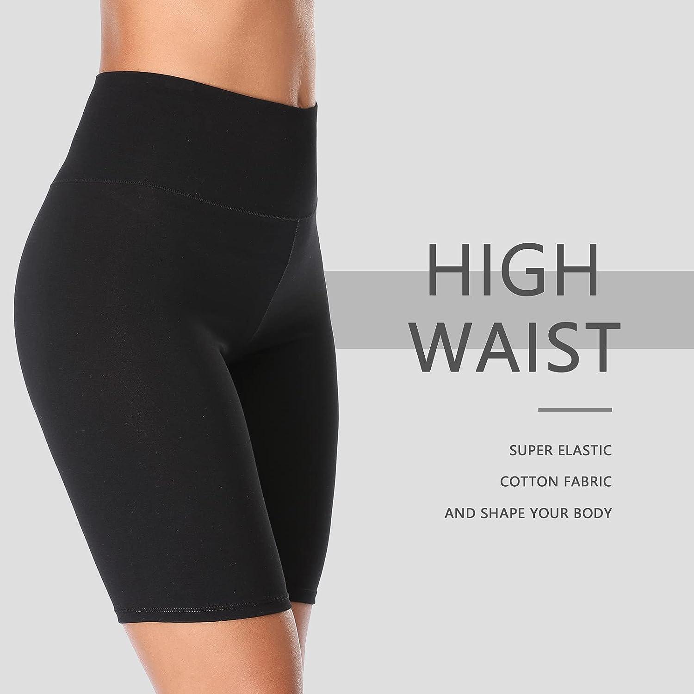 K-CHEONY Cotton High Waist Biker Shorts Yoga Shorts Long Leg Boy Shorts,Slip Shorts for Under Dresses Regular and Plus Size