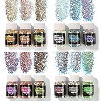 LET S RESIN Opal Chunky Glitter 12 Color Mixology Craft Glitter Powder for Resin /Tumblers /Slime Iridescent Chunky Glitter Sequins Festival Decor Each 0.35oz