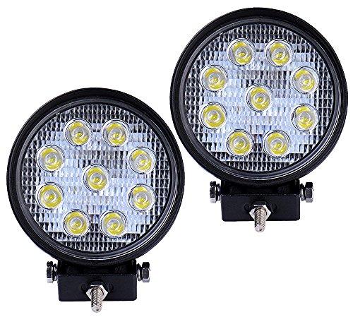 Signstek Lot de 2 phares avants ronds à haute puissance pour Jeep 4x4 LED 27 W 30°