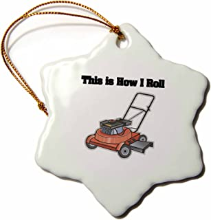 3dRose LLC ORN_102547_1 Porcelain Snowflake Ornament, 3-Inch, This is How I Roll Lawn Mower