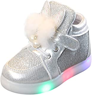 Rabbit Shoes Non-Slip White Breathable, Trainers Sneakers Shoes for Children Kids with Lights Soft Bottom Without Laces, FULLSUNNY