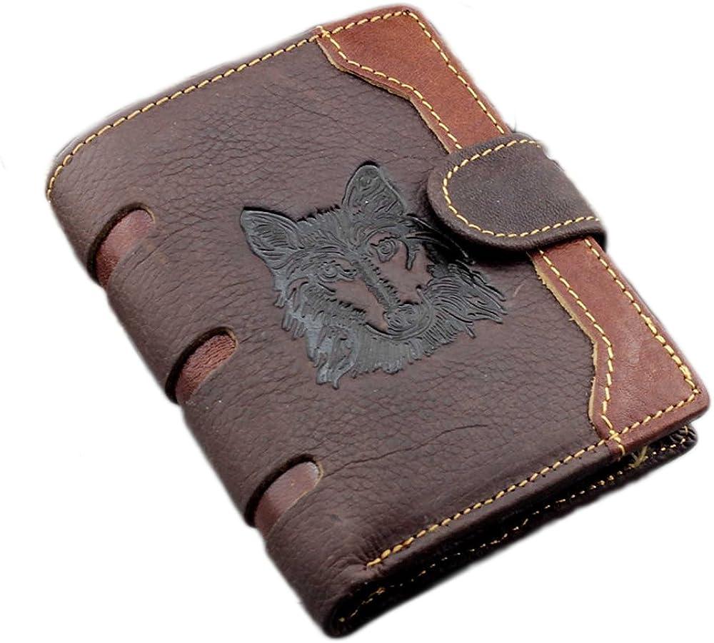 East Rain Men's Cool Eagle Totem Cowhide Leather Vertical Wallet Zipper Multi-card Cardholder