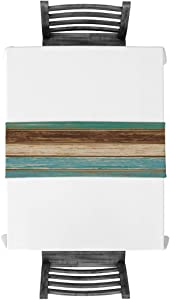 Vandarllin Cotton Linen Table Runner Dresser Scarves Retro Rustic Barn Wood&Teal Green Brown Non-Slip Burlap Rectangle Table Setting Decor for Wedding Party Holiday Dinner Home, (13X70 Inch)