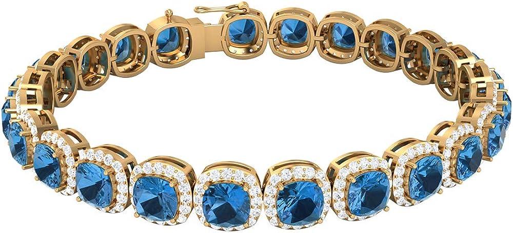 Arctic Blue Sapphire Quantity limited Bracelet 13.50 B Moissanite CT Halo Baltimore Mall D-VSSI