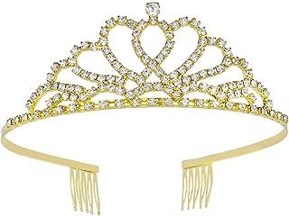 Princess Crown Birthday Tiara Metal Crystal Double Heart Design Hair Headband for Women Girls