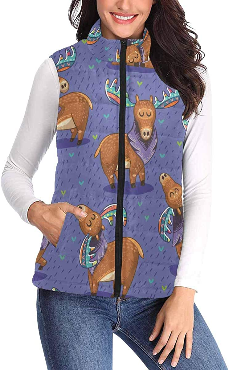 InterestPrint Casual All Over Print Zip Padded Vest with Pocket for Women Cute Elephants and Butterflies