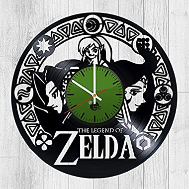 - Wall Clock - Unique design Vinyl Clock - Legend Zelda Vinyl Record Wall Clock - Get unique bedroom, kitchen wall decor - Gift ideas for men, boys and girls – Video Games Unique Art Design