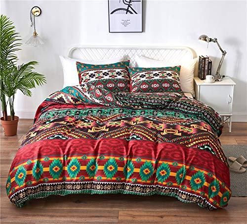 Nyescasa Bettwäsche Boho 135x200 cm Indisch Rot Gelb Grün Bohemian Bettbezüge Premium Qualität Mikrofaser Bunt Geometrisches Muster Bettwäsche Set mit Kissenbezug 80x80 cm Reißverschluss