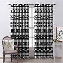 GloriaJohnson Boho Shading Insulated Curtain Tribal Ethnic Borders Native American Aztec Ancient Geometric Folkloric Figures Soundproof Shade W52 x L108 Inch Black and White