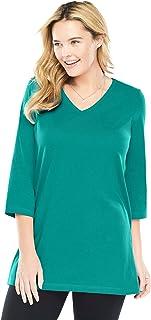 Women's Plus Size Perfect Three-Quarter Sleeve V-Neck Tunic