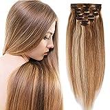 Elailite Extensiones Cabello Natural Clip Pelo Humano - 25 cm 110g #12P613 Castaño Dorado Mecha Rubio Muy Claro [Max Grueso] Double Weft 100% Remy Hair Mujer 8 Piezas