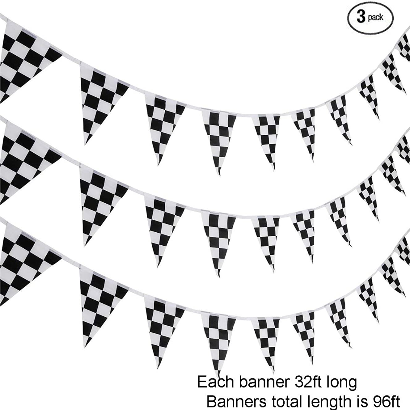 Black and White Checkered Pennant Banner Race Track Flags Decoration Addition to Decorate Boy's Monster Car Race-Themed Birthday Party(3 Pack,32ft Each Pack)