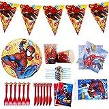 Vajilla de fiesta de cumpleaños para niños vajilla de fiesta de Spiderman,suministros de fiesta de Marvel Avengers para 6 personas,incluye bolsas de regalo,platos de papel,pancarta,mantel