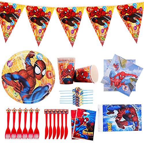 Spiderman Partygeschirr, Spiderman Dekorationen,Geschirr für Kindergeburtstagsfeiern,Party Tableware,Kindergeburtstag Tischdeko Party Set für 6 Personen Spiderman