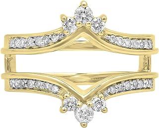 DazzlingRock Collection - Anillo Doble de Oro de 14 Quilates con Diamante Blanco de Corte Redondo para Aniversario de Boda