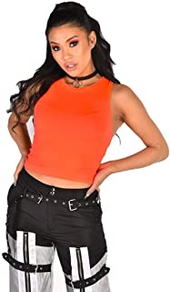 iHeartRaves Women's Fitted Rave Crop Top Shirts - Cut Out, Neon, Fishnet Shirts